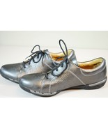 Clarks Un Honey Leather Lace-Up Sneaker Shoes Womens 8.5 Silver Pewter M... - $49.49