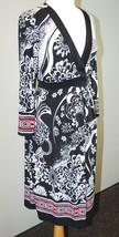 Liz Lange Maternity Long Sleev Dress - Red Black White Print Size M Knit... - $14.84