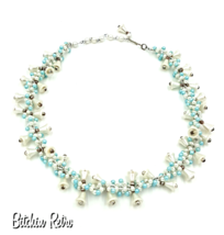 Vintage Wedding Bell Necklace  Adorable White Bells and Baby Blue Beads ... - $19.00