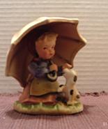 Vintage ALPINE CHILDREN Bisque Porcelain Girl With Umbrella Figurine - $14.10