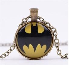 Batman Vintage Cabochon Tibetan Bronze Glass Chain Pendant Necklace NEW - $7.00