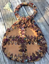 Vintage BOHO CHIC leather loop handbag 70's Handmade Mulit color VGUC