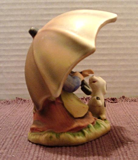 Vintage ALPINE CHILDREN Bisque Porcelain Girl With Umbrella Figurine