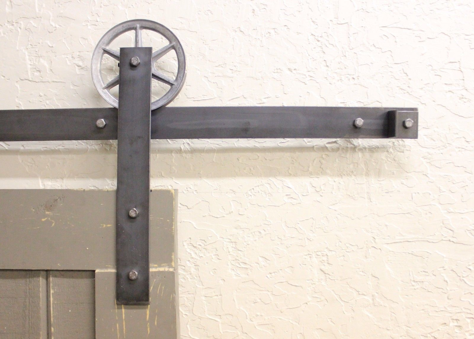 Vintage sliding barn door hardware rustic black barn for Rustic hardware barn doors