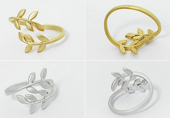 Primary image for Cute Mini Leaves Cocktail Ring(Color:Gold /Silver )