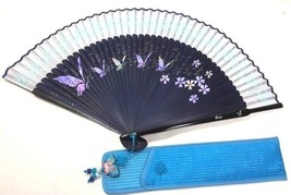Pocket Folding Korean Tradition Picture Butterflies and flower Hand Fan ... - $12.49