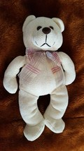 "13"" Plush Commonwealth Classic Cream Teddy Bear W Plaid Bow, Flocked Nose, Knit - $4.94"