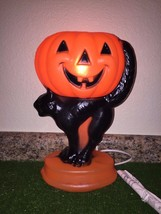 "NEW 13"" Halloween Jack-O-Lantern On A Black Cat Lighted Blow Mold Table Decor - $29.69"