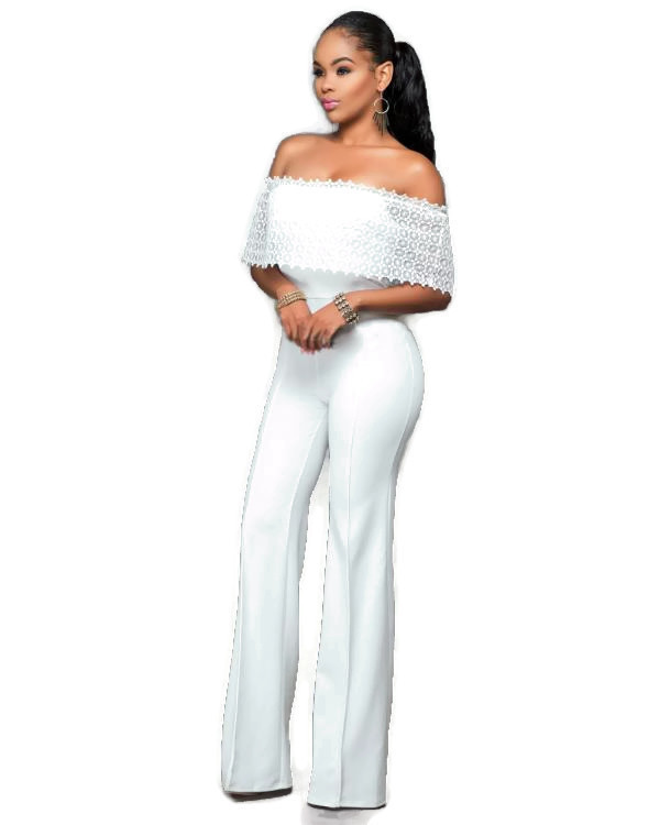Hollow Out Lace Solid Fashion sexy Jumpsuit