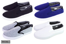 Men's Canvas Shoes Slip On Casual Sneakers Kicks Originals Lowtop Footwear NEW - $13.99