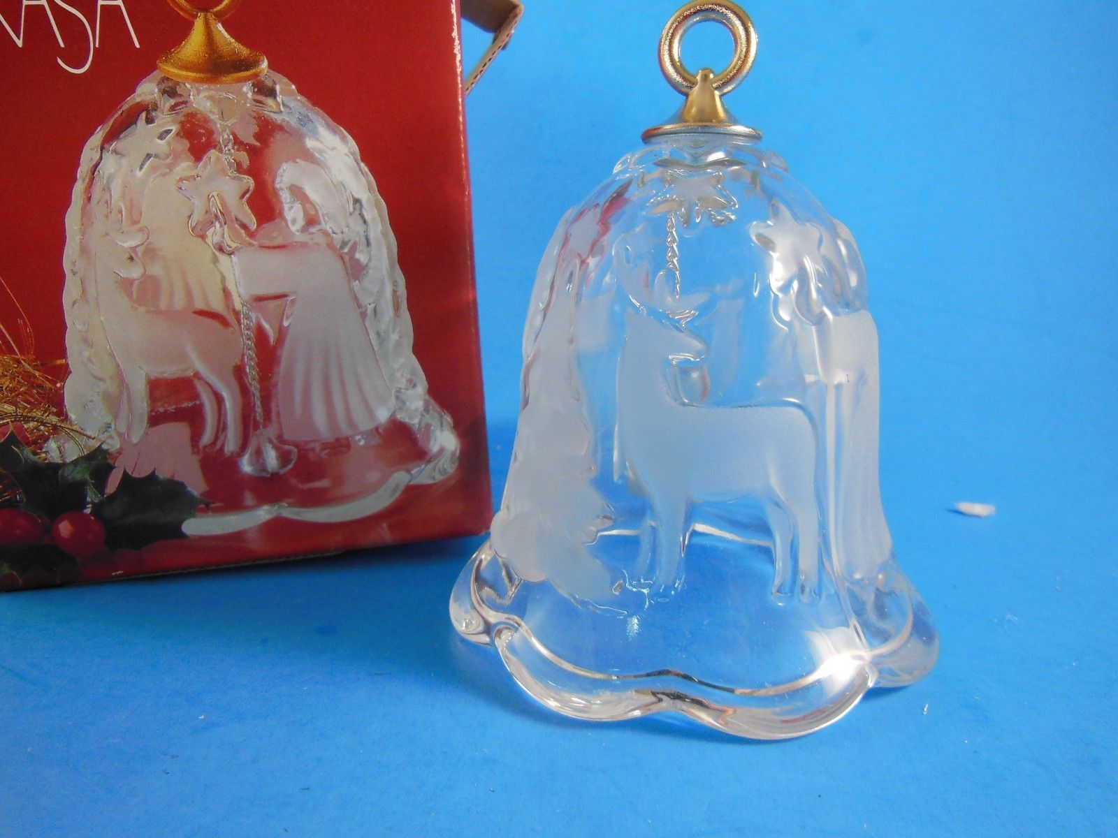"Primary image for Mikasa Crystal Holiday Lights Christmas Bell Angel Tree Deer 4.25"" MIB Germany"