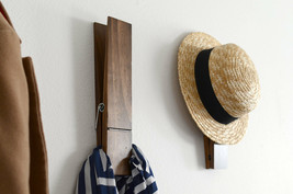 Clothes Hanger Coat Hat Rack Wall Mounted Home Furniture Wood Wooden Han... - $66.76