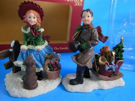 """New in Box Village Square 2005 Sleigh Ride with the Family Figurines 3.25"""" Tall - $10.39"""