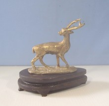 Vintage hand crafted brass deer with display wood stand circa mid 9100s ... - $32.00