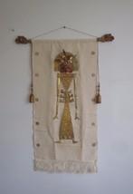 Brass Bali Temple Dancer On Woven Fabric Scroll... - $300.00