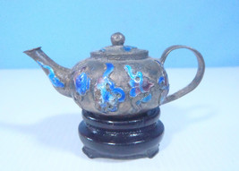 Antique Cloisonne Hand Crafted Miniature Teapot On Wood Stand c.mid 1900... - $29.99