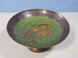 Vintage brass copper bowl with dolphins hand crafted circa mid 1900s 2 u - $18.00