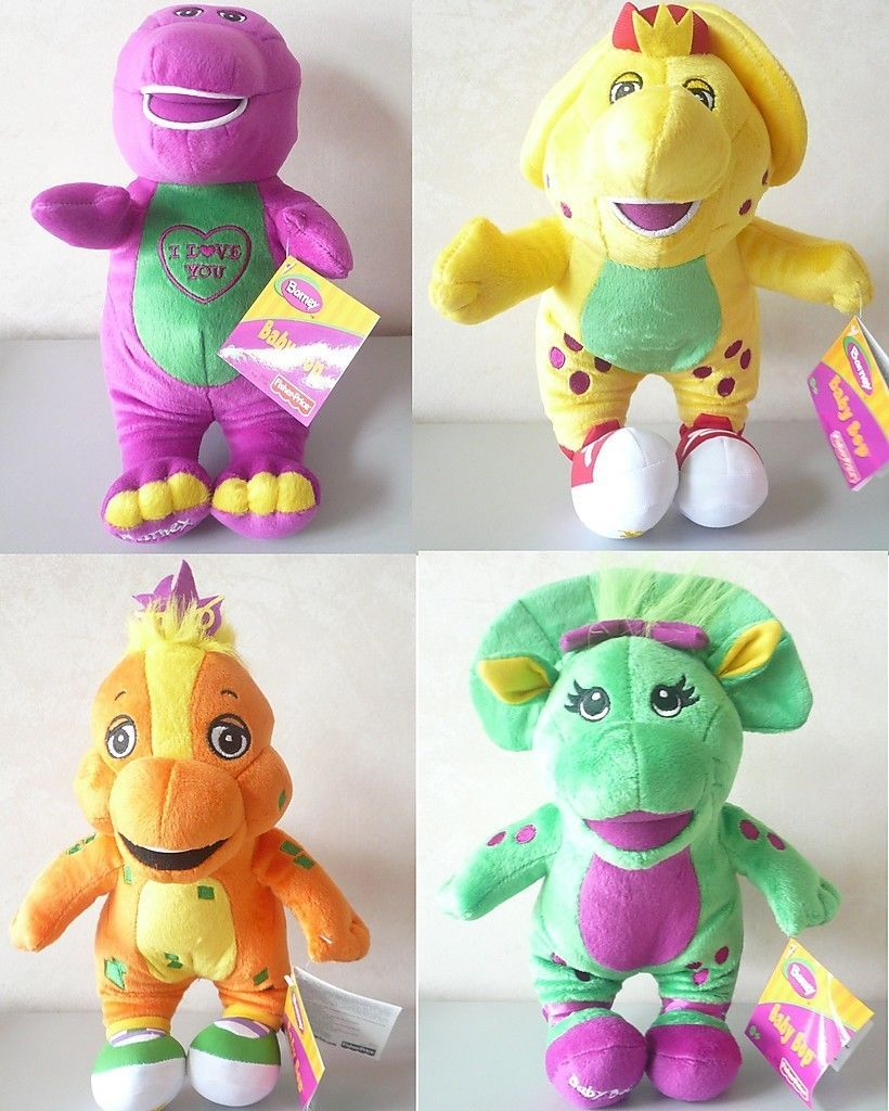 13 inch Barney Singing Plush Doll, BJ, Riff & Baby Bop 4pcs set Boys & Girls toy
