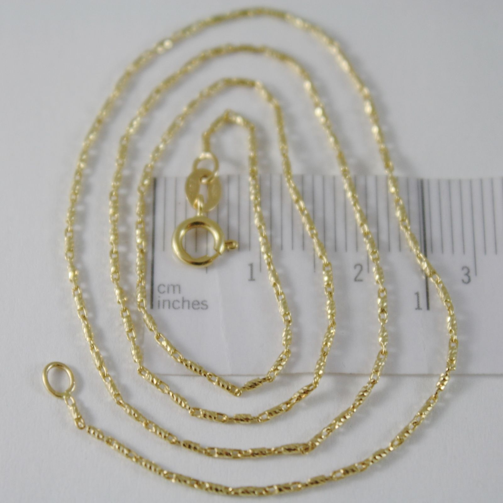 SOLID 18K YELLOW GOLD FINELY WORKED TUBE CHAIN 16 INCHES, 1 MM, MADE IN ITALY