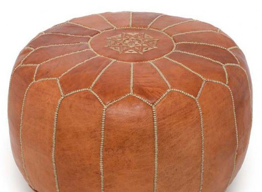 Pouf / Set of 2 x Hand stitched & embroidered  Leather Ottomans Poufs