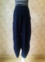Navy Oversize Linen Pants Wide Leg Pants Ankle Length Elastic Trousers NWT image 2
