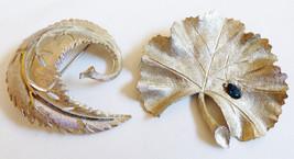 Lot of 2 fashion silver tone Blue stone Ginko leaf pins brooch set BSK - $29.70