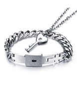 Love Heart Lock Bangle Heart Key Pendant Necklace Couples Jewelry - £18.30 GBP