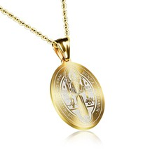 Gold Pendant Carved Sentia Necklace Chain Link For Women in Style - $15.99