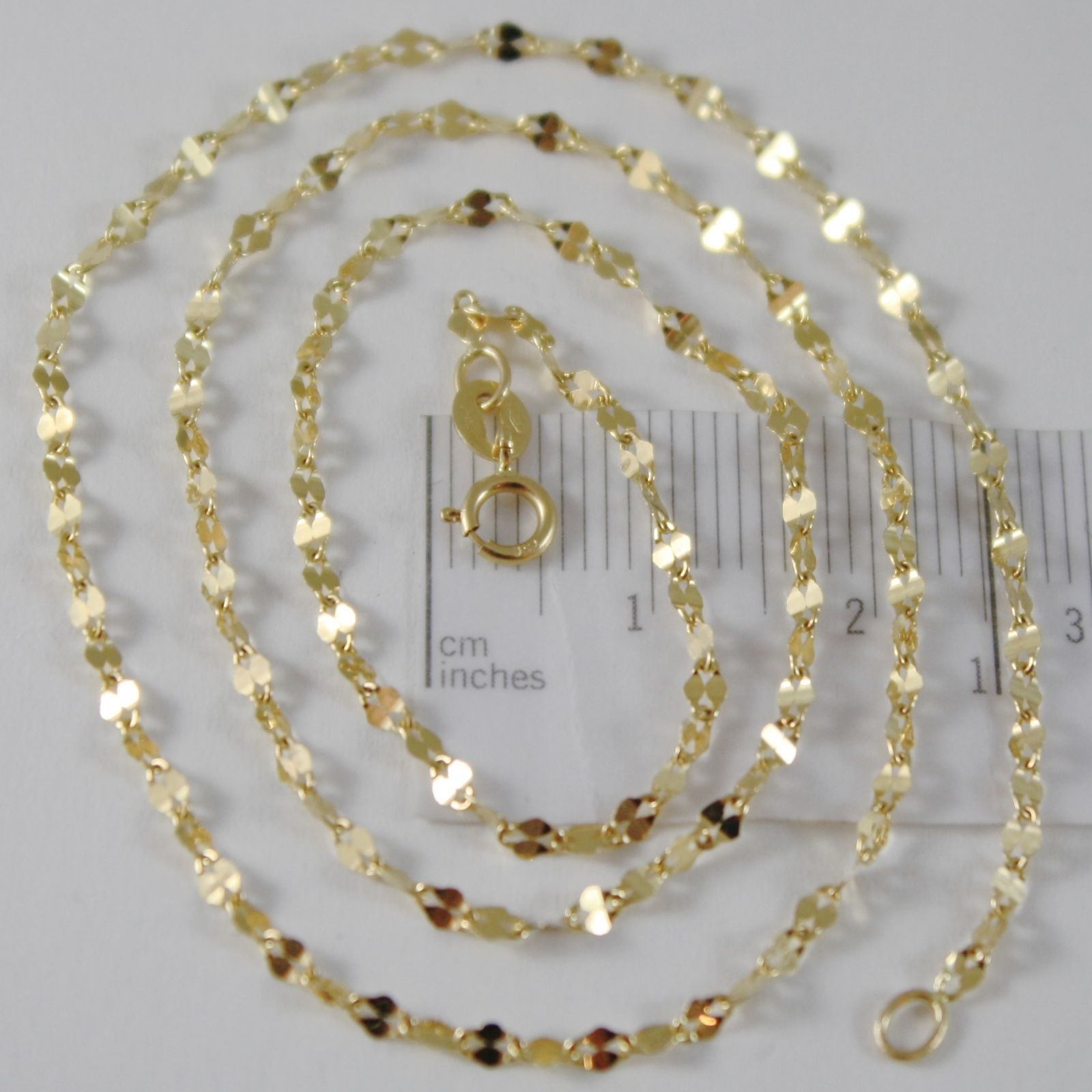 SOLID 18K YELLOW GOLD FLAT BRIGHT KITE CHAIN 16 INCHES, 2.2 MM MADE IN ITALY