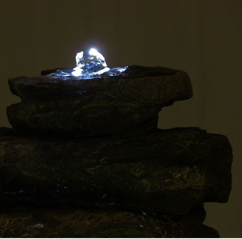 tabletop water fountain led lighting light pump rocks indoor electric