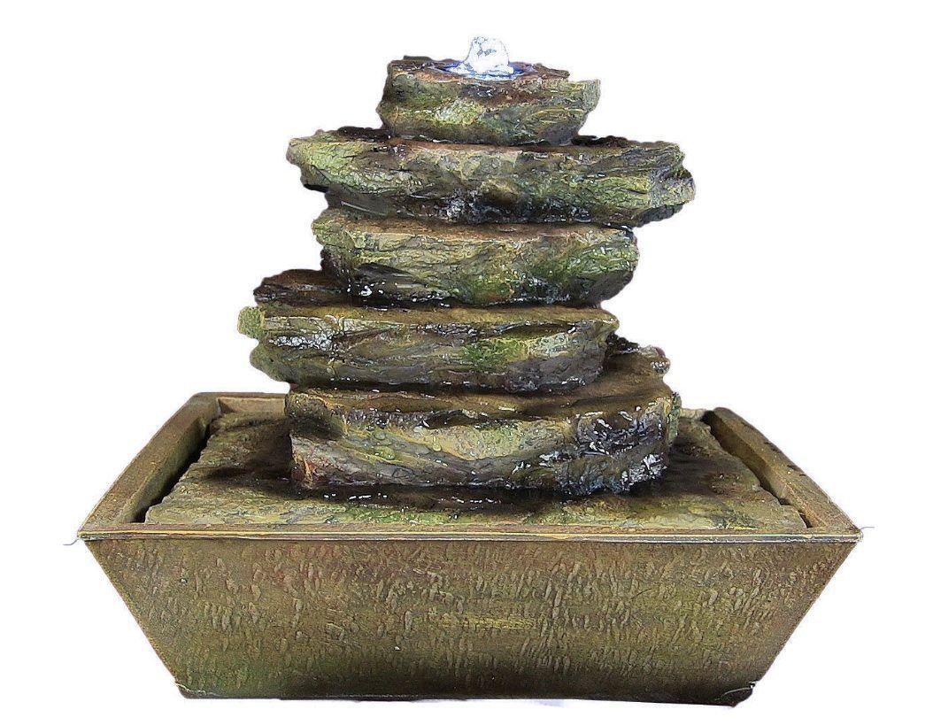 Tabletop Water Fountain Led Lighting Light Pump Rocks