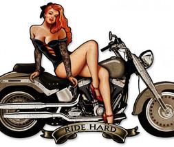 Ride Hard Motorcycle-Pinup Plasma Cut Metal Sign - $29.95