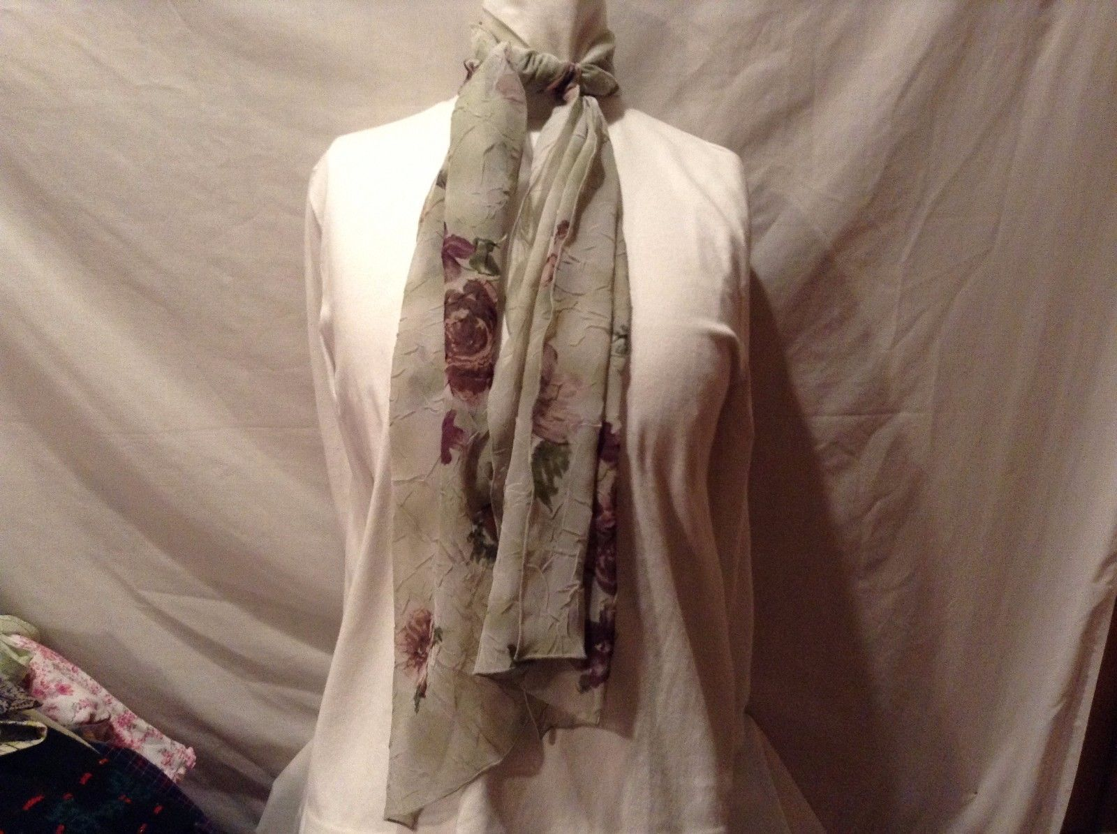 Mademoiselle 100% Polyester Sheer Wrinkle Green White Floral Scarf