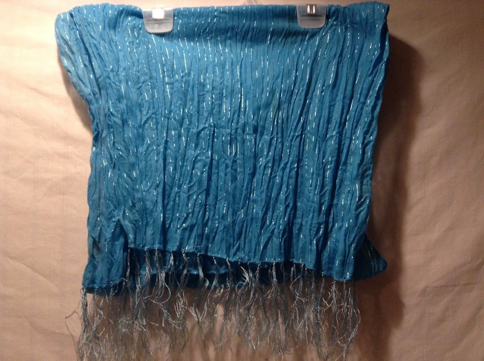 Blue Sheer Horizontal Wrinkle Shiny Stripe Fringe Edges Scarf