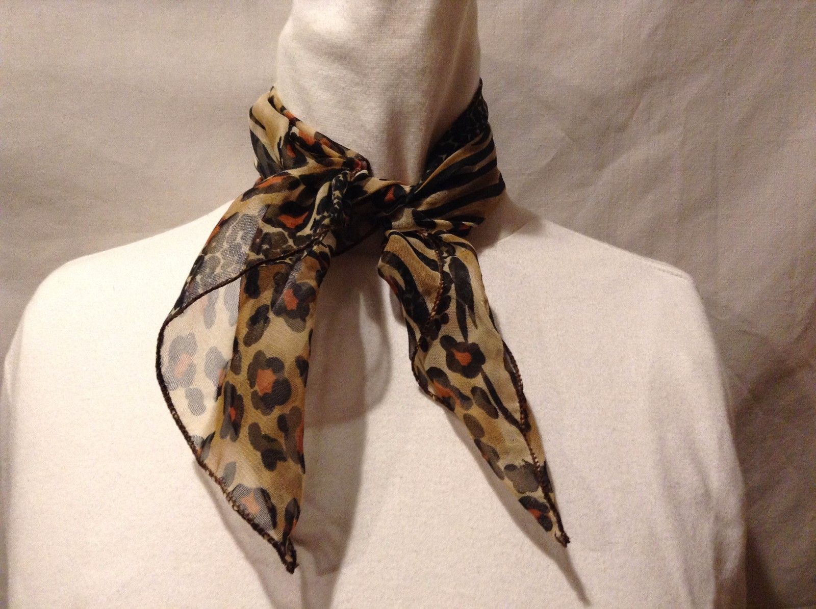 Animal Print Scarf Combo Stripe Black Brown Tan Orange Trapezoid White Spots Two