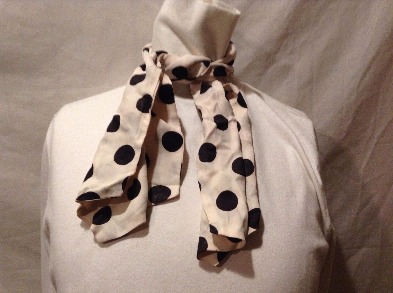 Adorable Used Great Condition White Black Polka Dotted Dots Short Scarf