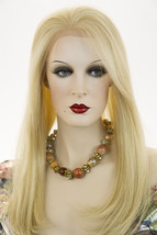 Light Pale Blonde Blonde Long Premium Remy Human Hair  Lace Front Straight Wigs - $620.72