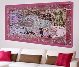 Cotton Wall Tapestry Hand Embroidered Beads Patchwork Hanging Heavy Sequ... - $971,53 MXN