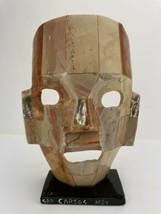 Ceramic Stone Tile Decorative Mask on Stand Aztec Unique Brown Antonio M... - $49.49