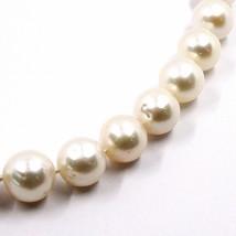 Collier or Blanc 18K, Zirconia, Perles Grandes 12 mm, Blanche, Eau Douce image 2