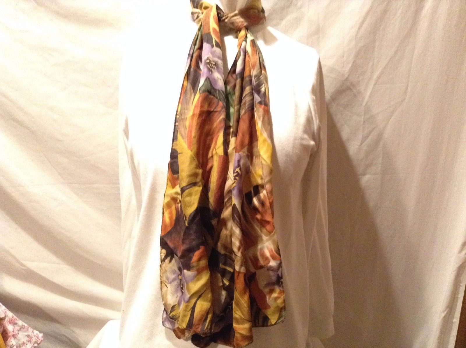 Adorable Used Condition Green Yellow Purple Orange Tan Floral Scarf