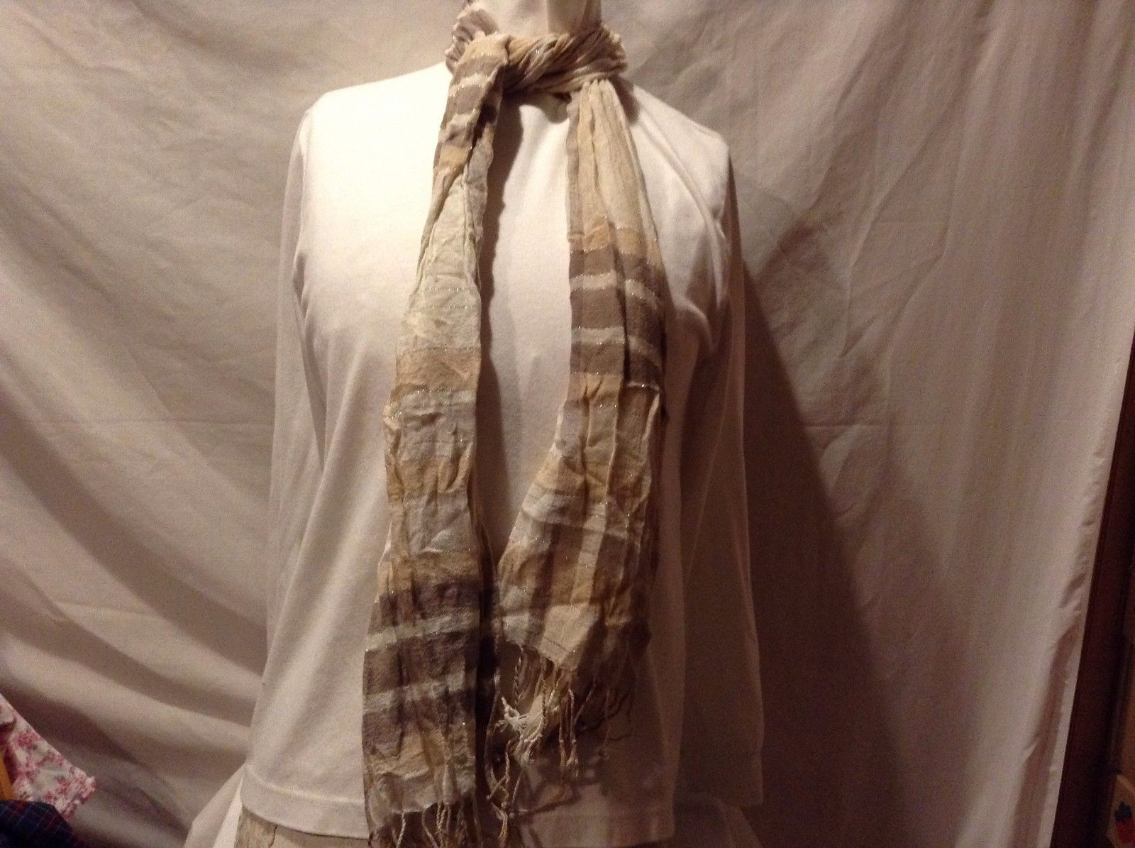 Great Used Condition Tan White Brown Plaid Silver Vertical Lines Fringed Scarf