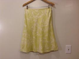 Ann Taylor Women's Size 8 Silk Skater Skirt Baroque Floral Print Yellow Green