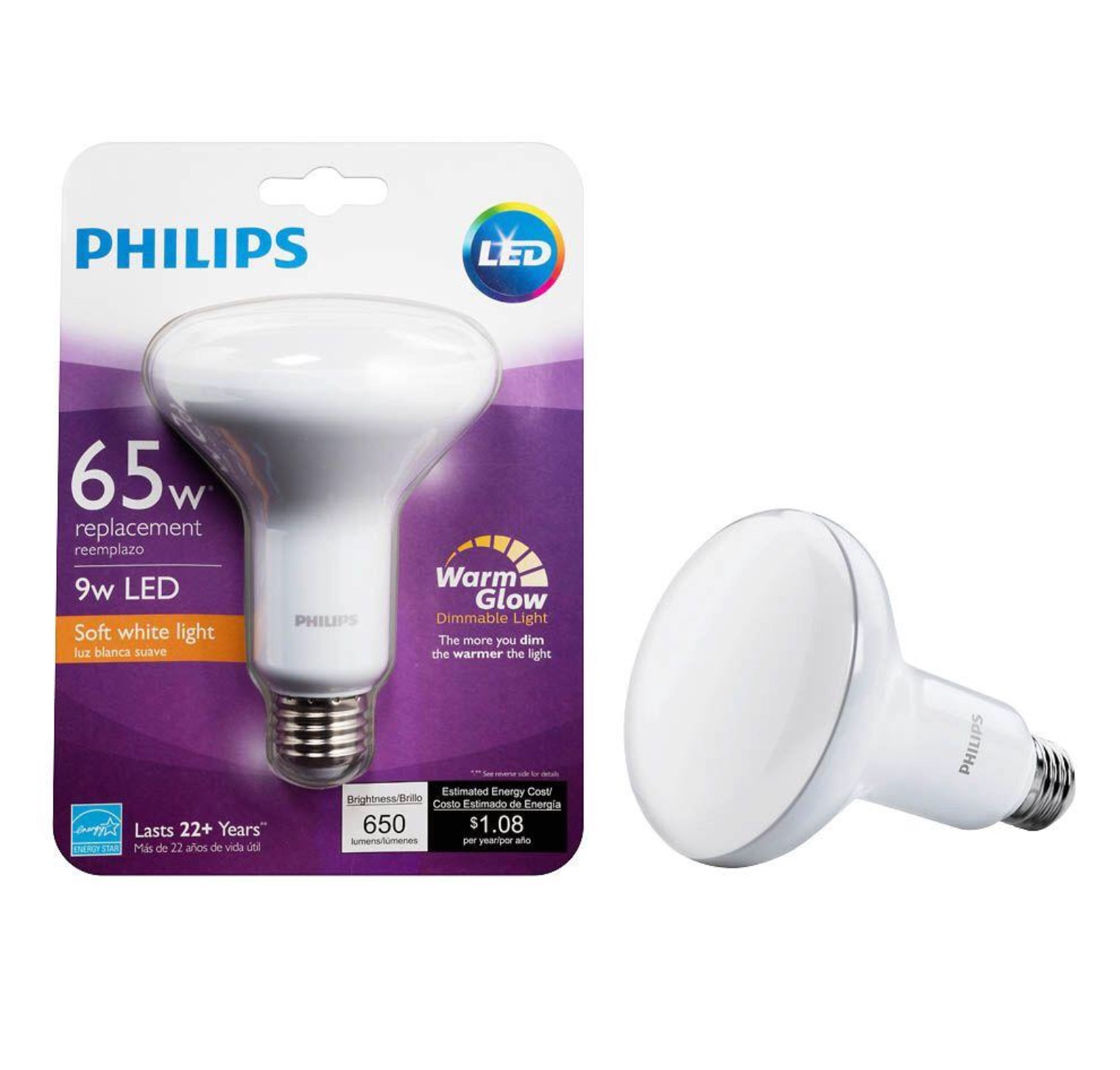 24 pack philips warmglow 65w equivalent soft white br30. Black Bedroom Furniture Sets. Home Design Ideas