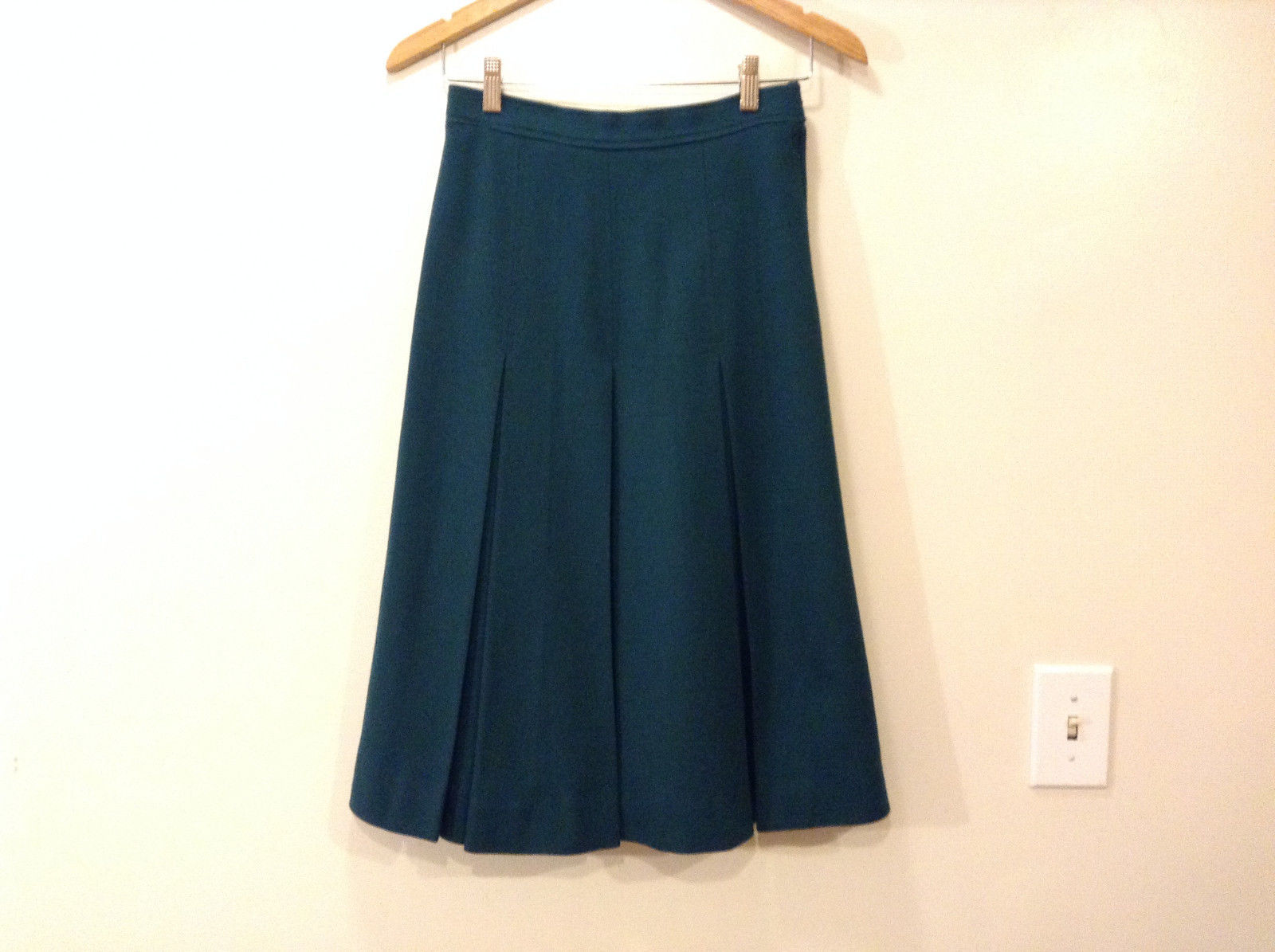 "No Brand Women's Size S / 6 ""A-Line"" Skirt Pleated Midi Heavy Dark Hunter Green"