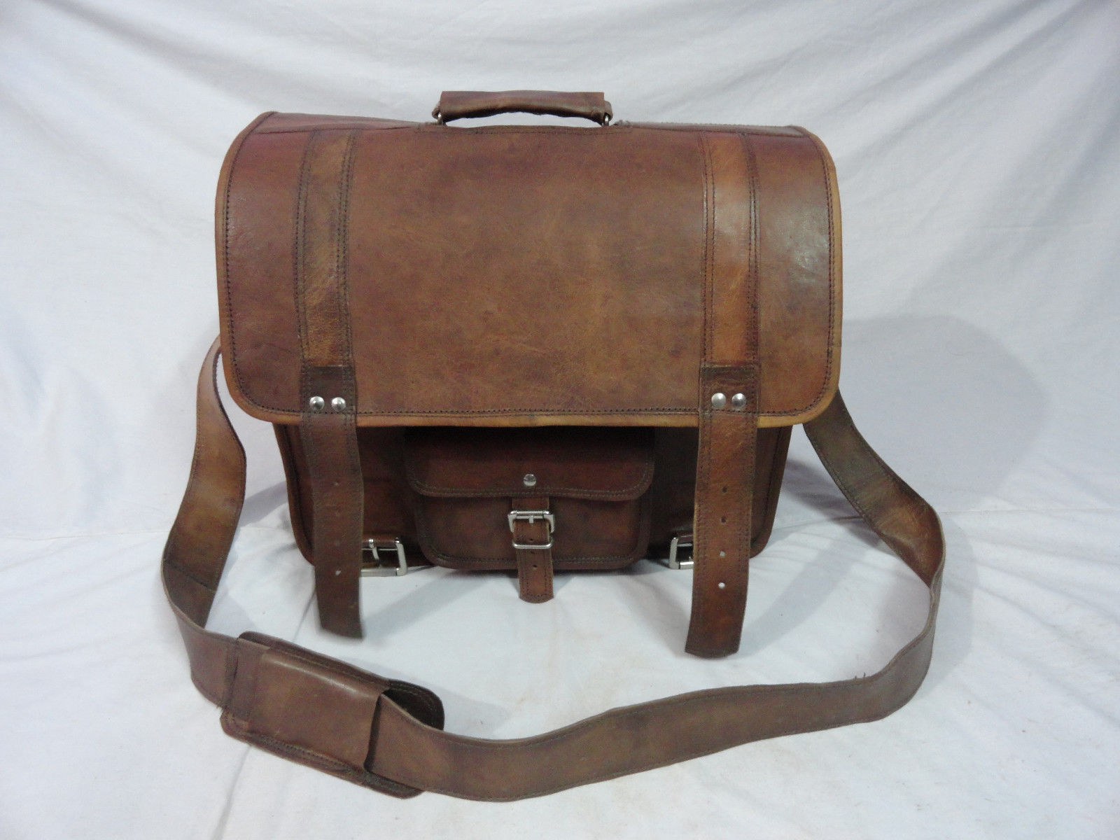 "18x14"" Real Leather Briefcase Laptop Macbook Attache Satchel Suitcase Eco-Friend"