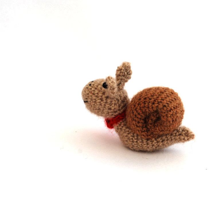 Tiny Amigurumi Doll : Amigurumi snail miniature crochet doll tiny