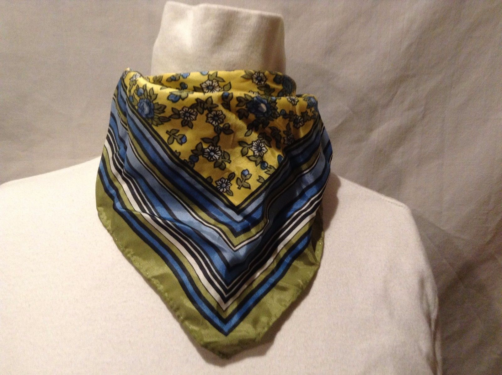 Great Used Condition Green Blue White Yellow Floral Bordered Scarf