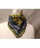 Great Used Condition Green Blue White Yellow Floral Bordered Scarf - $30.68