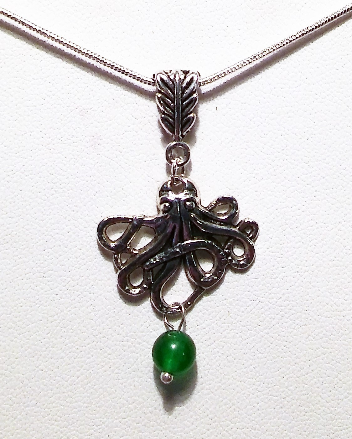 Octopus Pendant Necklace With Jade Bead